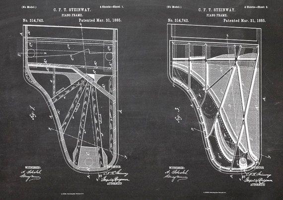 Steinway Flügel, Klavier, Piano, Druck, Patent, A4, Patentzeichnung, Zeichnung, Vintage, Kreidezeichnung, Blueprint
